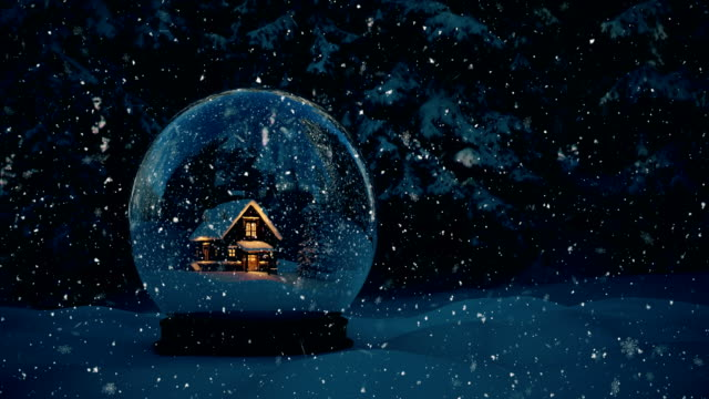 snow globe - 4k | loopable - christmas tree stock videos & royalty-free footage