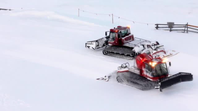 snow groomers (hd) - ski slope stock videos & royalty-free footage