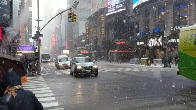 Snow in Times Square on March 21 2018 from the latest nor'easter hitting New York City Snow from the nor'easter in Times Square in New York City on...