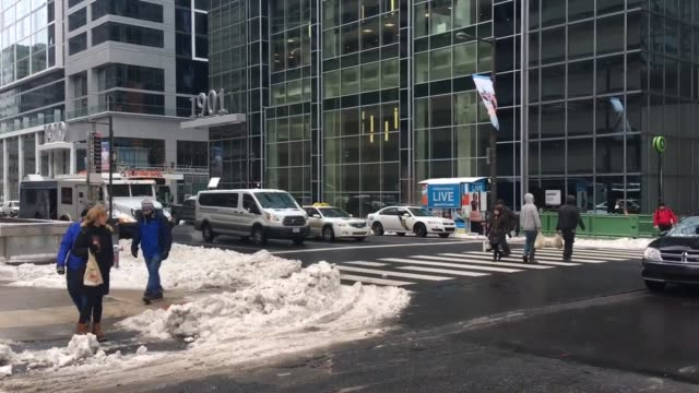 snow is falling again at 19th and market street in center city philadelphia - center city philadelphia stock videos and b-roll footage