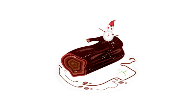 Snow Man Jumping Around Yule Log Cake.