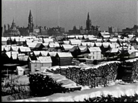 b/w snow on roof of houses, ottawa, canada / audio - ottawa stock videos & royalty-free footage