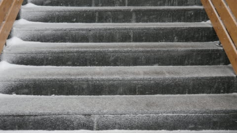 snow on stairs - slippery stock videos & royalty-free footage