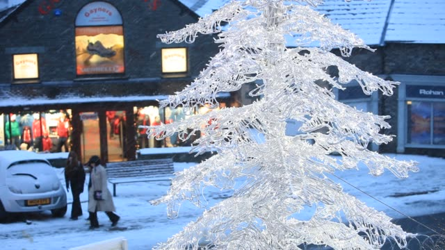snow over ambleside in the lake district at christmas uk - decoration stock videos & royalty-free footage