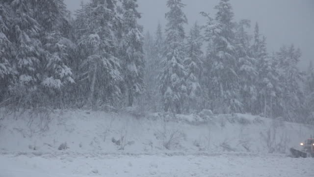 a snow plow on the seward highway, chugach national forest, alaska. - chugach national forest stock videos & royalty-free footage