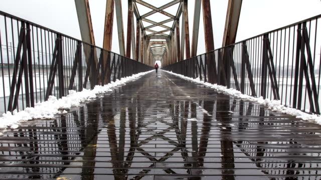 snow scene of bicycle lane in yangsuri, kyonggi-do - weathered stock videos & royalty-free footage