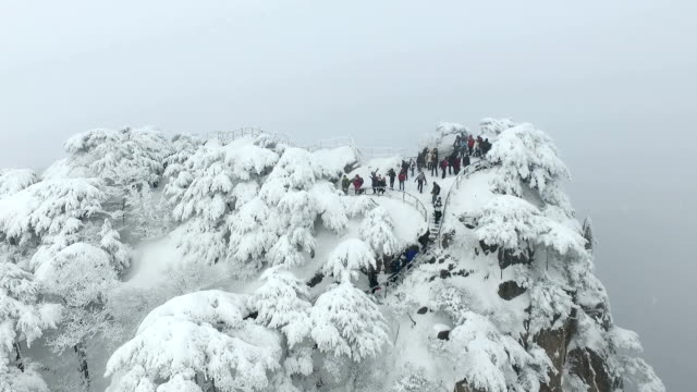 snow scene of Huangshan Mountain 4k