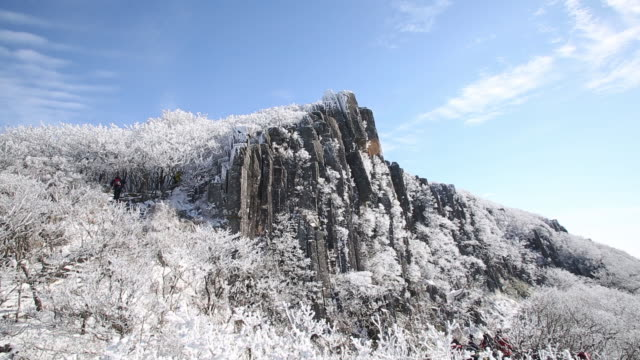 stockvideo's en b-roll-footage met snow scene of mudeungsan mountain - stilstaande camera