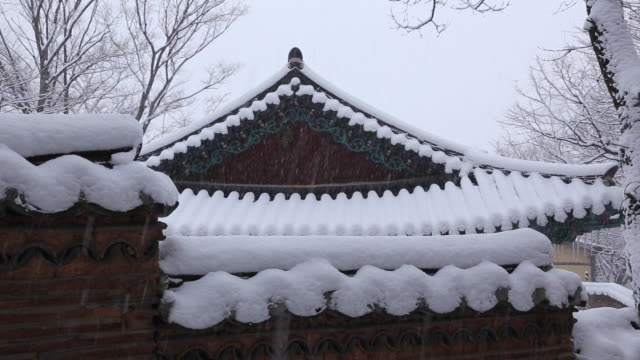 Snow scene of snowy roof tile at Sudeoksa temple