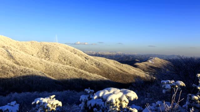 Snow Scene of Taegisan Mountain with blue sky