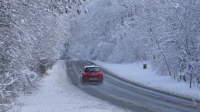 Snow Scene on A6 Buxton to Matlock, Peak District National Park, Derbyshire, England, UK