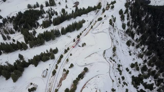 snow scenery of mountain railways in rigi mountain / lucerne, switzerland - railway track stock videos & royalty-free footage