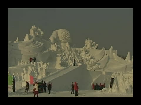 snow sculptures at the harbin ice festival - snow festival stock videos & royalty-free footage