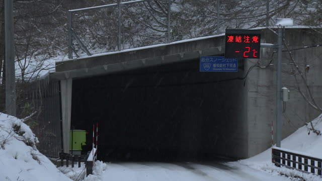 snow shed on road, fukushima, japan - gauge stock videos & royalty-free footage