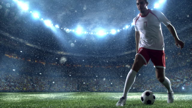 Snow: Soccer player makes a dribbling