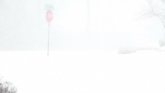 vídeos y material grabado en eventos de stock de nieve señal de pare (stop - ventisca