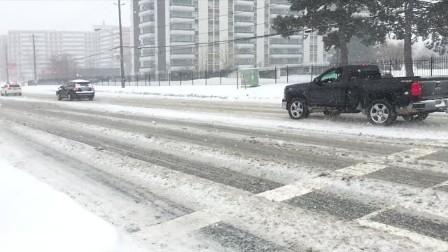 snow storm during the daytime, toronto, canada - frozen stock videos & royalty-free footage