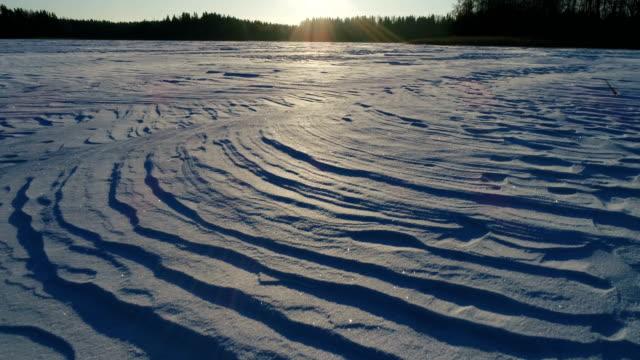 Snow texture over frozen lake
