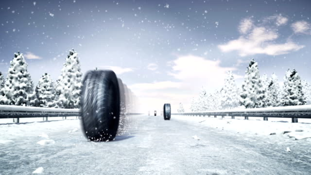stockvideo's en b-roll-footage met snow tire - autoband