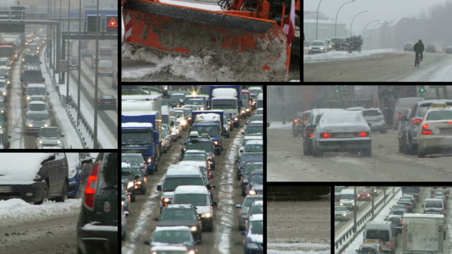 snow: traffic jam in a blizzard - montage - snowplough stock videos & royalty-free footage