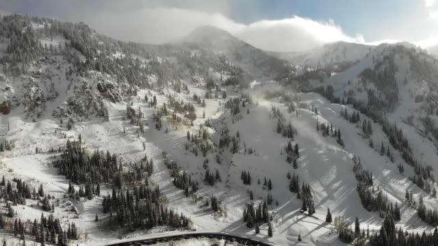 snowbird ski area in the peak of winter season near salt lake city utah in the wasatch mountain range - downhill skiing stock videos & royalty-free footage