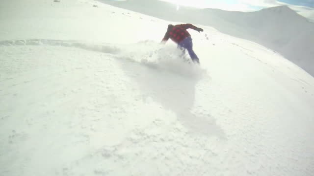 A snowboarder carving a mountain in winter. - Model Released - HD