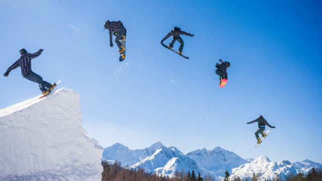snowboarder jump montage - snowboard video stock e b–roll