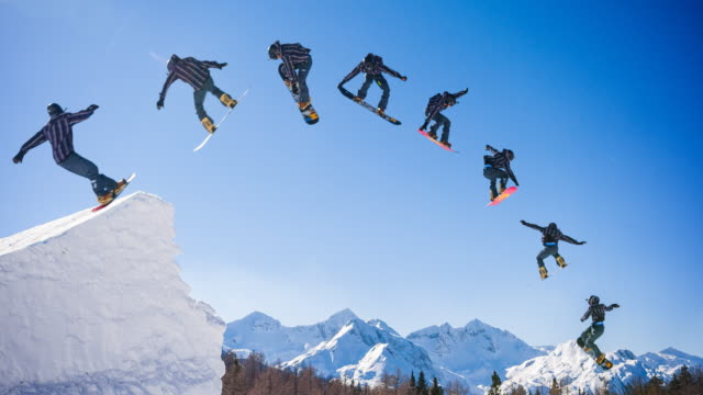 snowboarder jump montage - continuity stock videos and b-roll footage