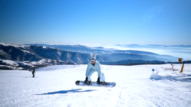 snowboarder on ski slope - wearable camera stock videos & royalty-free footage