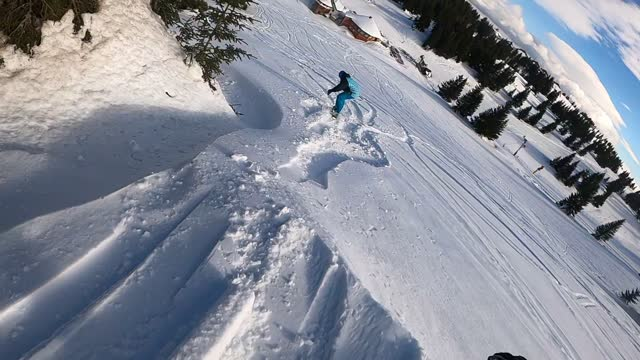 snowboarder riding through powder snow - ski holiday stock videos & royalty-free footage