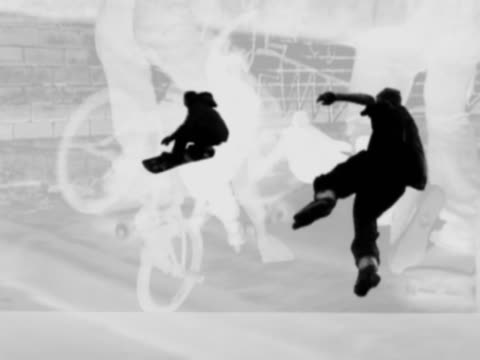 snowboarder, skater, skateboarder and cyclist doing stunts - in silhouette stock videos & royalty-free footage