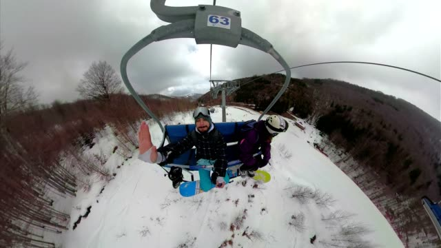 snowboarders riding a cable car to the top of the mountain - overhead cable car stock videos & royalty-free footage