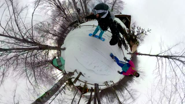 Snowboarders riding by a winter holiday resort