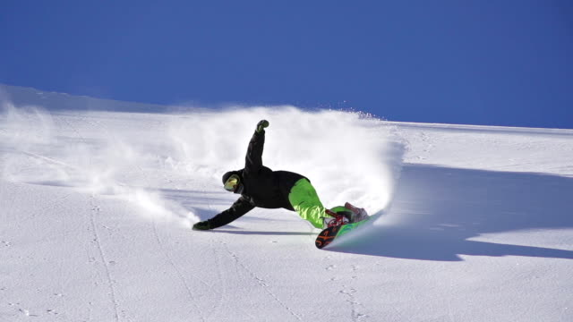 snowboarding fresh snow turn - snowboarding stock videos & royalty-free footage