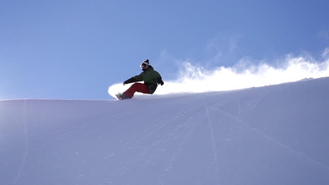 snowboarding fresh snow turn - snowboard stock videos and b-roll footage