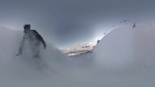 snowboarding in french alps - equirectangular panorama stock videos & royalty-free footage