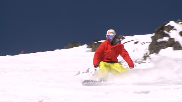 ms snowboarding mountain / jasper, alberta, canada - telemark stock videos and b-roll footage