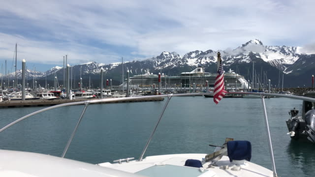 snowcapped mountain and cruise ship in seward, alaska - deck stock videos & royalty-free footage
