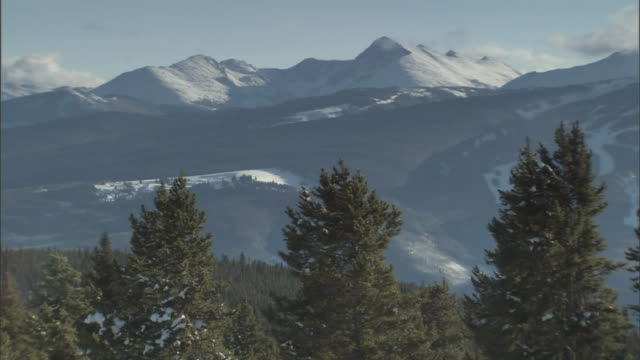 snow-capped mountains overlook an evergreen forest. - evergreen stock videos & royalty-free footage