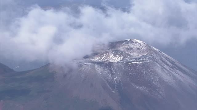 aerial, snowcapped mt iwate, japan - satoyama scenery stock videos & royalty-free footage
