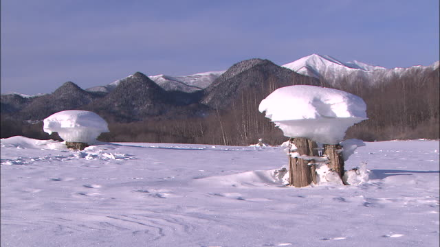 "snow-covered ""ice mushroom"" at the lake nukabira dam - satoyama scenery stock videos & royalty-free footage"