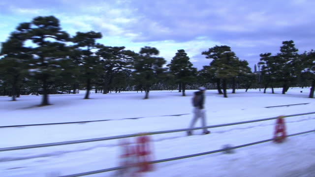 snow-covered outer garden of imperial palace, tokyo - cordon boundary stock videos & royalty-free footage