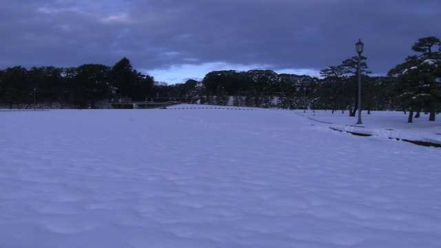 snow-covered outer garden of the imperial palace, tokyo - kanto region stock videos & royalty-free footage