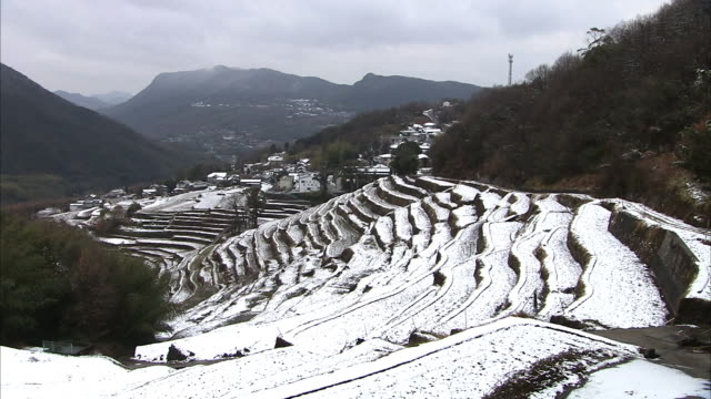 snow-covered rice terrace, shodoshima, japan - rice paddy stock-videos und b-roll-filmmaterial