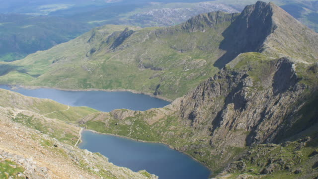 snowdonia national park.view down to glaslyn and llyn llydaw - snowdonia stock videos & royalty-free footage