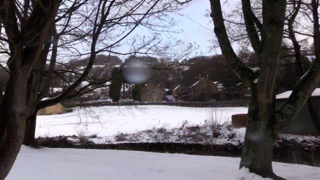 Snowfall around the village of Low Bradfield in Peak District National Park near Sheffield