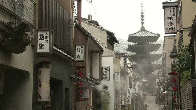 snowfall in kyoto - gion stock videos and b-roll footage