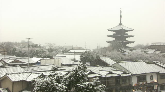 snowfall in kyoto - kyoto stock videos and b-roll footage