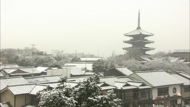 snowfall in kyoto - pagoda stock videos & royalty-free footage