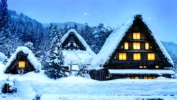 Snowfall in Shirakawa-go village in winter, UNESCO world heritage sites, Japan.